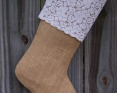 Burlap Stocking Christmas Frilly Lace Country Farmhouse Shabby Rustic Personalized 256