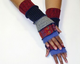 Fingerless Gloves, Patchwork Gloves,Arm Warmers (Periwinkle/Red Brick Print/Grey/Navy/Burgundy