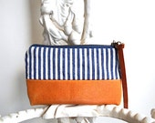 Striped selvedge denim utility pouch, wallet, cosmetic bag - hickory stripe indigo  - eco vintage fabrics