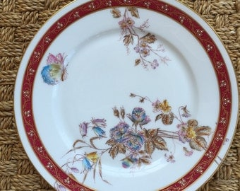 Vintage Oscar Gutherz Limoges Butterfly and Flowers 8 1/2 Inch Plate