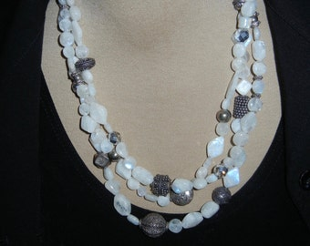 Moonstone and Vermile necklace and earrings N67