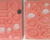 Set of 2 CaBezel Molds: Blocks and Dots and Lemon-Egg