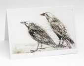 Two Australian Ravens, Greeting Card, Bird Art Card, Bridget Farmer, Bird Art, Crows, Corvids