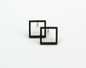 Black Square Geometric Stud Earring Post Finding (EH013)
