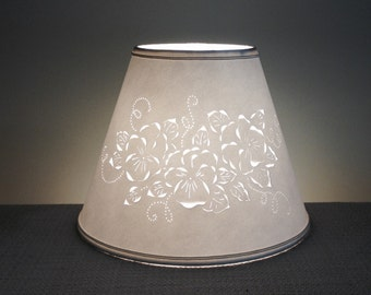 Cut & Pierced Floral Lamp Shade-Clip On Lamp Shade-Floral-Pierced Lampshade-Punched Lampshade-Barbaragailslamps