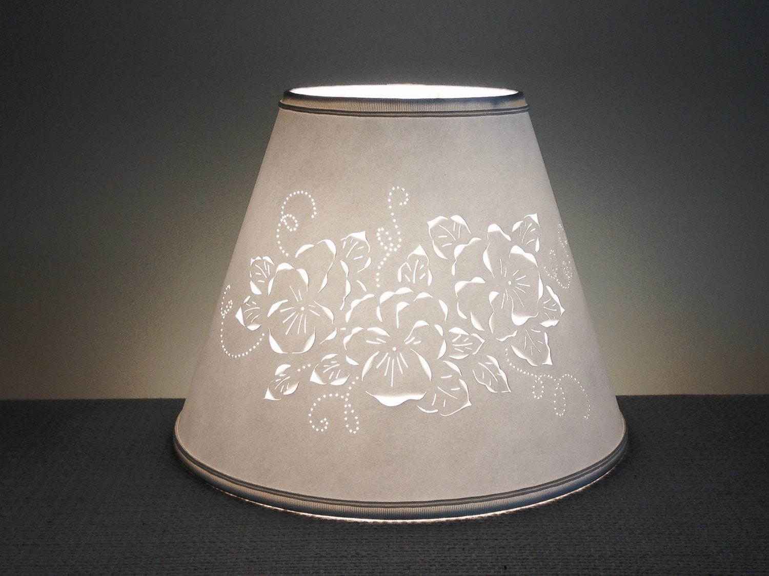 cut pierced floral lamp shade clip on lamp. Black Bedroom Furniture Sets. Home Design Ideas