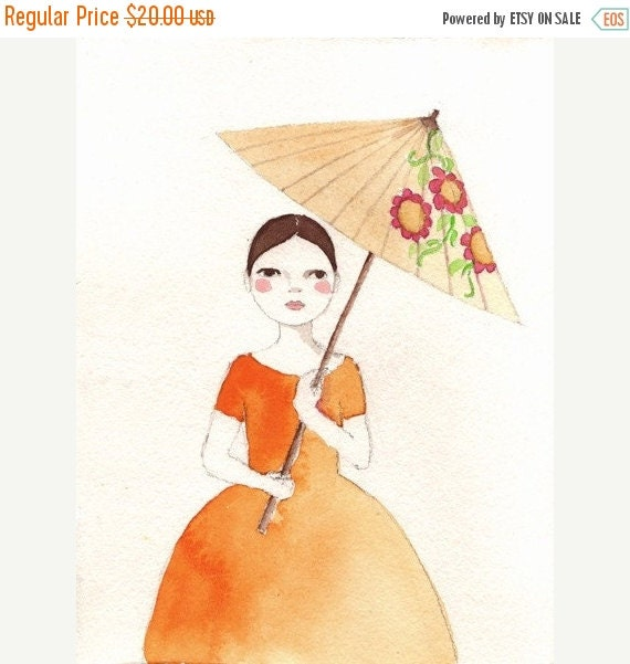 CHRISTMAS SALE Girl in Orange Dress print of original watercolor