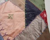 Vintage CRAZY Quilt Block Unfinished Square Frame Pillow Silks Large 17 in square