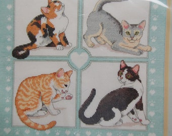 CATS so cute Feline Foursome Dimension Embroidery Kit Vintage Needlecraft Counted Cross Stitch
