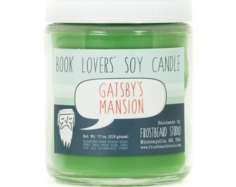 Gatsby's Mansion - Book Candle -  Book Lover Gift - Scented Soy Candle - Frostbeard Studio - 8oz jar - SALE