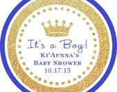 It's a Boy! Gold Glitter Blue Royal Prince round sticker / cupcake topper / thank you tags for birthday party, baby shower, PERSONALIZED