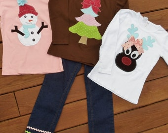 """Girls """"WINTER CLASSICS""""  collection Ribbon fringe jeans w/ Snowman / Reindeer / Tree tee shirt  in size 6-12-18-24 mth. 2T, 3/4T, 5/6T, 7/8"""