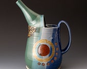 Ceramic Watering Can, Blue and Green Colors, Pouring Vessel, Pitcher, Gardening