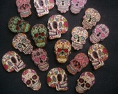 10 Assorted Day of the Dead Sugar Skull Wooden Buttons 25mm