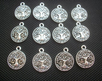 10 Tree of Life Disk Charms Silver Tone Metal