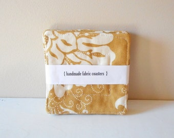 fabric drink coasters  mustard gold set of 4