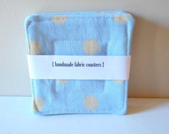 fabric drink coasters dotty blue set of 4