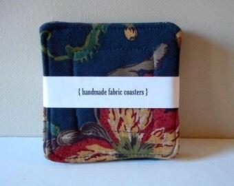fabric drink coasters navy blue botanical set of 4
