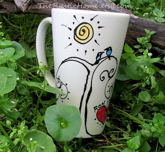 Love birds pottery mug blue bird heart personalized mug love friends wedding gift anniversary