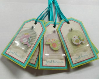 Bird Cage Gift Tags set of 6 teal ribbon included