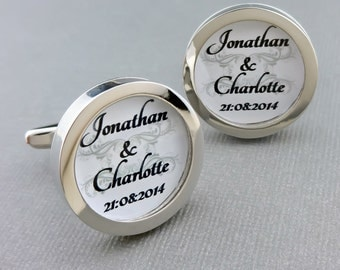 Personalized Bride And Groom Wedding Day Cufflinks