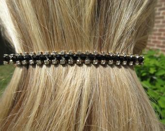 Sleek Black Crystal and Rhinestone Hair Barrette Hair Accessory Beaded Clip Beaded Hair Jewels Ponytail Holder Fashion Accessory Gift idea