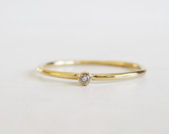 Tiny diamond ring | very thin gold ring |round stacking band | diamond stacking ring|1.5mm diamond ring|recycled 14k gold and diamond ring