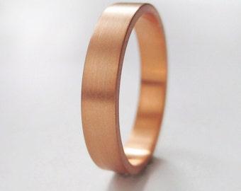 3x1.3mm Rose Gold Wedding Band | Rose Gold Ring | Eco friendly | Flat Edge Wedding Band | Women's Men's 14k 18k Band