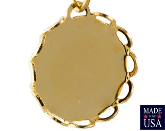 Gold Plated Filigree Border Setting Pendant with Loop 15mm (8) stn002N