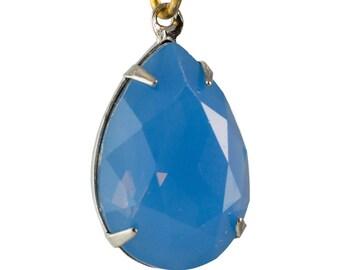 Blue Opal Glass Teardrop Stones 1 Loop Silver Setting 18x13mm (2) par006AB