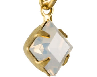 White Opal Faceted Square Glass Stones 1 Loop Brass Setting 6mm (8) squ001RR