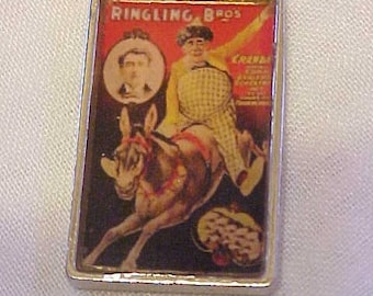 CHARM NECKLACE Photo Charm Matching Earrings~Red Ball Chain~Ringling Bros Circus Poster~When the Circus Comes to Town~Riding Donkey
