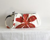 Pleated Wristlet Zipper Pouch // Clutch - Carnival Red Floral