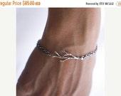 Valentines Day Sale Silver Oak Branch Bracelet