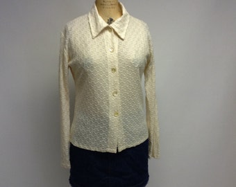Handmade Off-white stretch lace blouse
