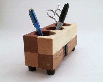 Office Organizer, Pencil Cup, Office Supplies, Office Decor, Caddy Tools Holder, Modern, Reclaimed Wood