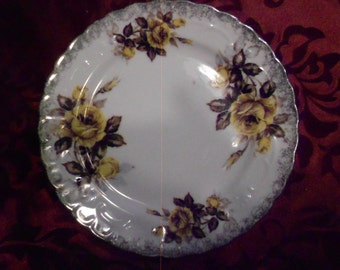 Plate/Ironstone/ White/ Yellow and Brown Roses/vintage
