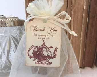 Tea Party Favor Organza Bags and Teapot Tags