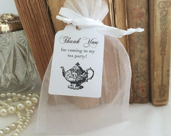White Tea Party Favor Organza Bags and Personalized Tags Thank You