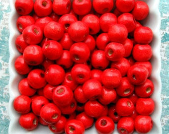"Red Wooden Beads 12mm - Over 100 - 1/2"" Glossy Cherry Red Wood Beads Round (WBD0077)"