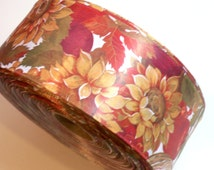 Fall Ribbon, Autumn Flowers and Fruits Satin Wired Ribbon 2 1/2 inches wide x 5 yards, Autumn Ribbon
