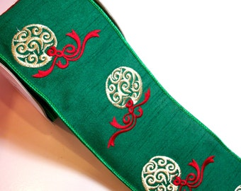 Christmas Ribbon, Lion Brand Green Ornament Wired Fabric Ribbon 4 inches wide x 10 yards, Full Bolt of Sopra Ribbon