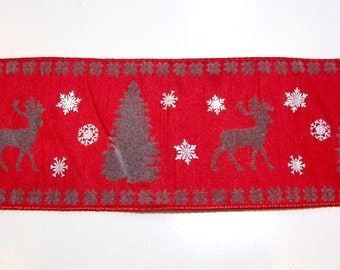 Christmas Ribbon, Metallic Silver and Gray Flocked Wired Fabric Ribbon 4 inches wide x 10 yards, Offray Snow Deer Ribbon