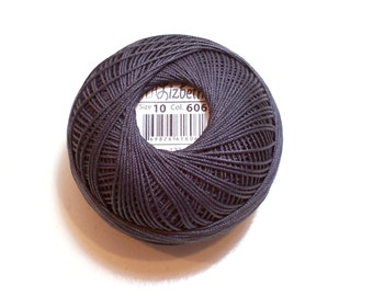 Tatting Thread, Lizbeth Cotton Crochet Thread, Charcoal Gray, Color number 606, Choose a Size 3, 10, 20, 40, or 80