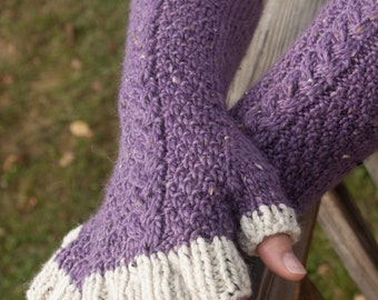Purple and Cream Cabled Fingered Gloves