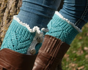 Turquoise Waves in the Sea Leg Warmers with Buttons