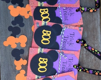 Halloween Mickey Boo Trick or Treat Tag Set of 5.
