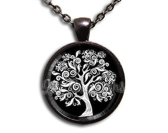 SALE - Oak Tree Whimsy Swirly - Round Glass Dome Pendant or with Necklace by IMCreations - NT111