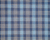 Homespun Fabric | Cotton Fabric | Home Decor Fabric | Quilt Fabric | Small Plaid Fabric|  Navy, Blue and Khaki Fabric | Sold By The Yard