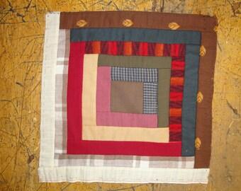 Log Cabin Quilt Square | Log Chain Quilt Piece | Antique Quilt Piece | Old Quilt Piece